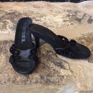 Diesel leather and suede slip on heel, size 7.5